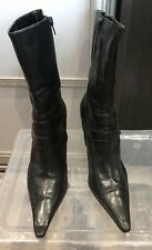 ladies black leather ankle boots size 6 Nine West
