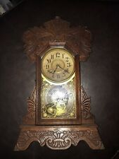 Circa 1910 8 day Cunard Line New Haven chiming Mantel clock w Pendulum & key