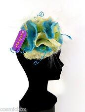 CHAPEAU de cérémonie femme CRAZY HAT taille unique bleu turquoise et vert anis