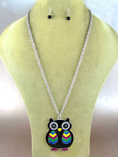 """Silver Toned 24"""" Chain With Black Colorful Owl Pendant"""