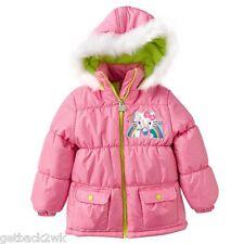 NEW* HELLO KITTY JACKET COAT TOP $70 Girls 2 2 Puffer Winter Pink Green Fur Trim