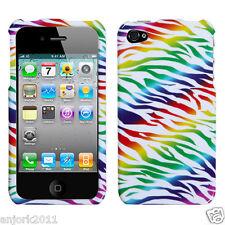 Apple iPhone 4 4S Snap-On Hard Case Cover Rainbow Zebra White