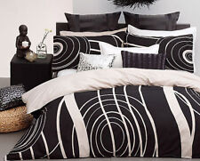2 Pce Logan and Mason MURRAY Black Linen Quilt Doona Duvet Cover Set - SINGLE