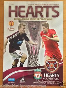 HEART OF MIDLOTHIAN V LIVERPOOL (23/08/2012) *EUROPA LEAGUE FOOTBALL PROGRAMME*