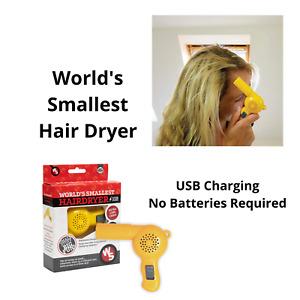 Worlds Smallest Hair Dryer USB Charging Fun Ergonomic Design Compact Free Post