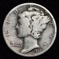 1931-P MERCURY DIME / CIRCULATED GRADE GOOD / VERY GOOD 90% SILVER COIN