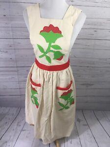 Apron Linen Applique Floral Two large Front Pockets Full Body Adjustable M/L/XL