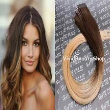 10pc Ombre Remy Tape In Skin Weft Human Hair Extensions Brown Strawberry Blonde