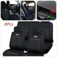 9Pcs Full Set Car Sports Seat Protector Interior Accessories Black Seat Covers