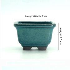 Chinese Yixing Mame Bonsai Cactus & Succulent Pot Dark Green Glazed 9x9x5.5cm