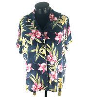 La Cabana Hawaiian Wahine Pink Orchid Green Leaves Luau 100% Rayon Machine Wash