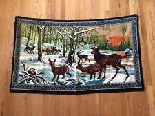 "VINTAGE WALL HANGING TAPESTRY DEER IN FOREST SNOW 55"" x 33"" MADE IN TURKEY"
