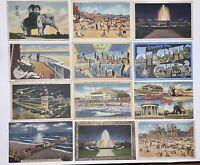 Vintage Linen postcards Atlantic City NJ Pier Elephant Lot of 12 New Jeresy