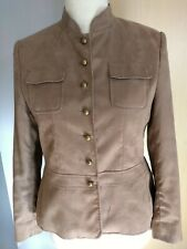 Klass Colletion Faux Suede Military Style Jacket Size 14 Light Tan Ladies Womens