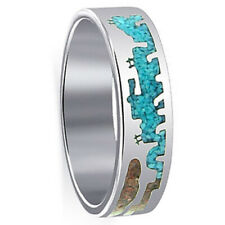 925 Sterling Silver Turquoise Coral Gemstone Inlay Southwestern Style Band Ring