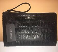 Steve Madden Monogram Black Unisex Lg. Cosmetic Bag Travel Pouch Wristlet NWT