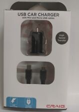 Craig USB Car Charger with Mini & Micro USB Cables