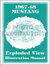 1967-1968 Ford Mustang Parts Illustration Manual Exploded Views 67 68