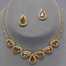 Clear jewellery set crystal diamante teardrop necklace set brides party prom 271