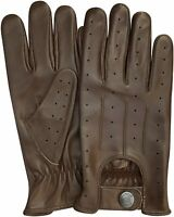 REAL LEATHER MEN'S NAPPA FASHION UNLINED DRIVING GLOVES BROWN