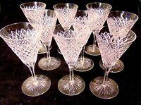 9 ABP Cut GLASS CRYSTAL Strawberry Diamond Cordial Wine Stem Glasses