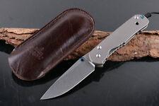 8'' New D2 StoneWash Blade Sebenza 21 Style Full TC4 Handle Folding knife VTDF13
