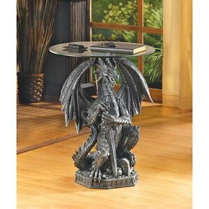 Stunning SCULPTED MYSTICAL GUARDING DRAGON ACCENT END SIDE OR NIGHT TABLE ** NIB