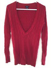 Gap Women's Xs Red V Neck Long Sleeve Cotton Angora Rabbit Pullover Top Sweater