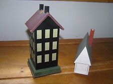 Estate Lot of 2 Black Painted Wood House Candlestick & White w Slide Out Drawer