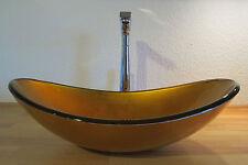Aufsatz Glas Waschbecken Waschschale Gold OVAL Bad Waschtisch NEUHEIT