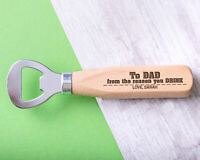 Personalised Engraved Wooden Bottle Opener Dad Any Name Fathers Gift