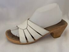 Bass Sandals White Tan Leather Slides Open Toe Shoes Womens 9 M Wedge Heels