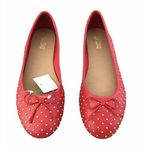 Brash Women's Brit Red Gold Studded Ballet Flat Shoes Size 7 Medium New