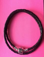 Pandora double black leather bracelet 40cm long