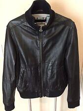 Zara Black Leather Bomber Jacket Coat Large L
