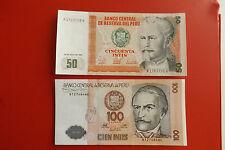 * Peru 50+100 Intis Banknote 1987 `* (Ordn 2)