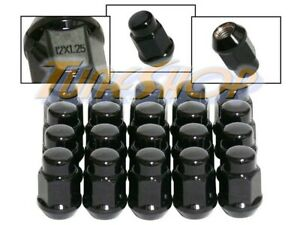 20 BULGE ACORN WHEELS RIMS LUG NUTS 12X1.25 M12 1.25 CLOSED END BLACK 19 HEX S