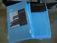 New Hudson Park 500TC Pima 5PC Full/Queen Duvet Cover Standard Euro Shams Azure