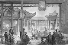 China MANDARIN PALACE COURTYARD JUGGLERS ~ 1842 Architecture Art Print Engraving