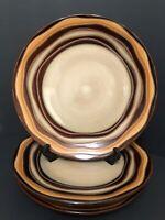 "Retired Sabatier Waves Brown Stoneware 4093 Dinner Plate 11"" Set Of 4"