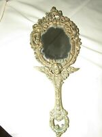 ANTIQUE ART NOUVEAU BRASS CHERUB VANITY DRESSER MIRROR VINTAGE ORNATE VICTORIAN