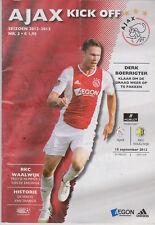 Programma / Programme Ajax Amsterdam v RKC Waalwijk 15-09-2012