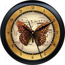 "BUTTERFLY VINTAGE-POSTCARD-Paris-Golds Music Notes 10"" Wall Clock Teacher Gift"