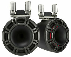 "2) Kicker 44KMTC94 600W Peak 9"" Wakeboard Tower Marine Speakers w/ LED Grills"