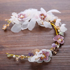 Luxury Purple White Gold Flower Wedding Tiara Hair Head Band Costume Party