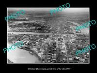 OLD LARGE HISTORIC PHOTO OF BRISBANE QUEENSLAND AERIAL VIEW OF THE CITY c1955
