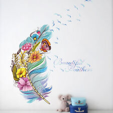 Removable Vinyl colorful Feather Flower Wall Stickers Art Mural Decor NEW DIY