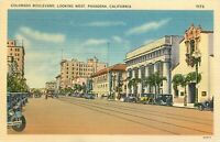 Linen Postcard Ca I228 Colorado Boulevard Looking West Pasadena Street Trolley
