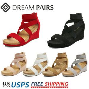 DREAM PAIRS Women's Wedge Sandals Elastic Ankle Strap Open Toe Platform Shoes