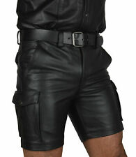 MENS LEATHER CARGO SHORTS SEXY GAY FETISH CLUB WEAR SHORT POLICE PANT WITH BELT